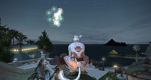 Watching summer fireworks with FC friend