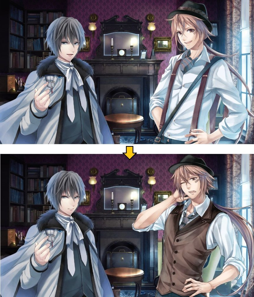Okay so I could deal with the cast change, Shirai Yusuke did a good job as Watson as much as I like Kimura Ryohei. Still though, the artwork difference is utterly jarring and okay I can see them needing to use a different artist to add CGs but....why replace the sprites??? Did they think nobody would notice....... (눈_눈) Apparently they announced a sequel for this game but I haven't heard much on it cause Karin seems to be focusing on their BL label lately.